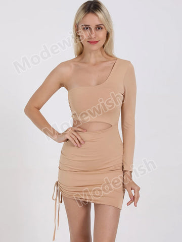 Slash Neck Sleeveless Strapless Mini Sexy Bodycon Party Dress