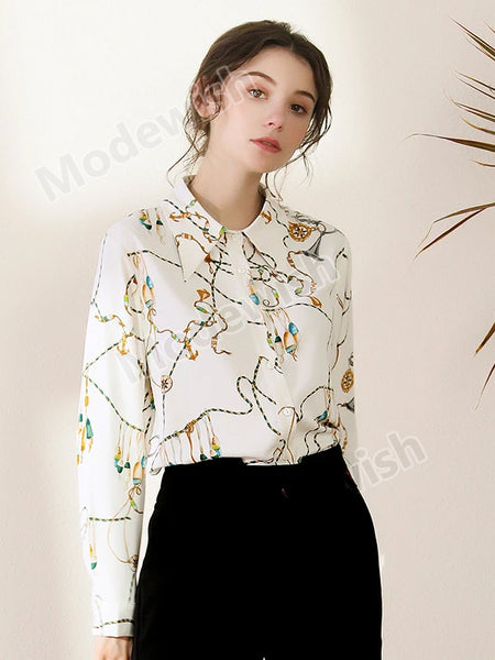 Spring Summer Women Shirt Turn Down Neck Chiffon Blouse Elegant Work Wear White Top