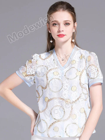 Summer New  V Neck Lace Hollowed-out Short Sleeve Chain Print  Women's Blouse Top