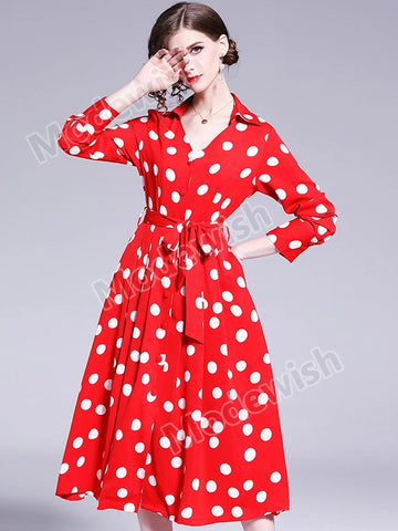 Summer Red Polka Dot Dress Women Elastic Waist Bow Elegant Short Sleeve Holiday Midi Skater Dress