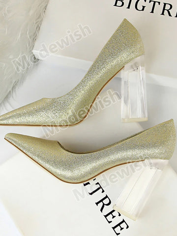 Transparent Crystal High Heel Satin Shallow Mouth Pointed Sexy Pumps Wedding Shoes
