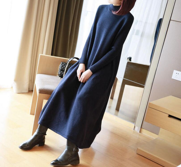 Autumn/winter knitted large size long and loose sweater dress