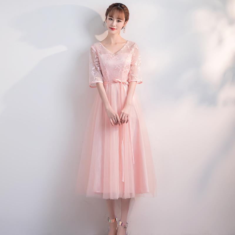 V-neck A-line Tea-length Chiffon Valentine's Day Floral Print casual tulle pink lace Evening Dress Occasion Dresses For Women