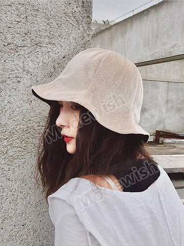 Velvet Chic Fisherman Hat Women Retro Sun Visor