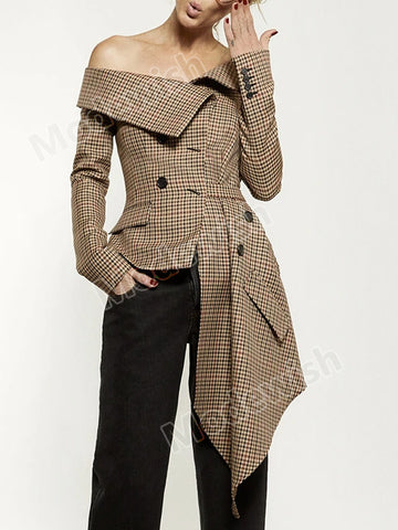 Women Blazer Off Shoulder Asymmetric Sexy Plaid Suit Cardigan