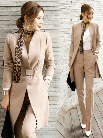 Women Casual Office Business Suits Formal Work Sets Uniform Elegant Pant Suits
