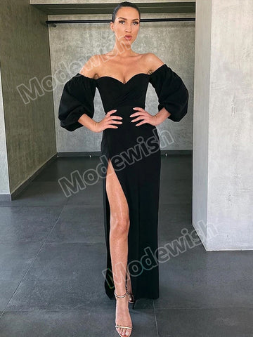 Women Elegant Sexy High Slit Slash Neck Strapless Puff Sleeve Party Night Club Slim Bodycon Dress