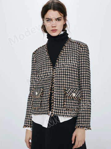 Women Englant Office Lady Elegant Plaid Wool Blazer and Jackets
