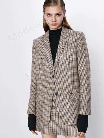Women Houndstooth Retro Plaid Blazer Fashion Jacket Loose Commuting Woolen Coat