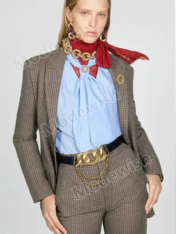 Women Plaid Suit Fashion Houndstooth Retro Lapel Casual Blazer Jacket Coat