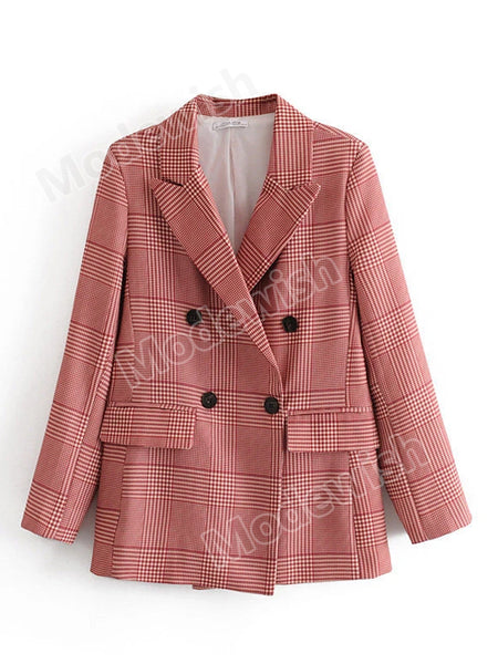 Women Red Plaid Blazer Long Sleeve Elegant Houndstooth Chic Office Lady Jacket