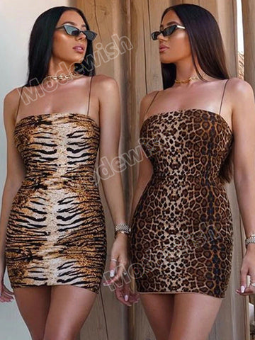 Women Sexy Leopard One-shoulder Open Back Bodycon Club Night Party Dresses