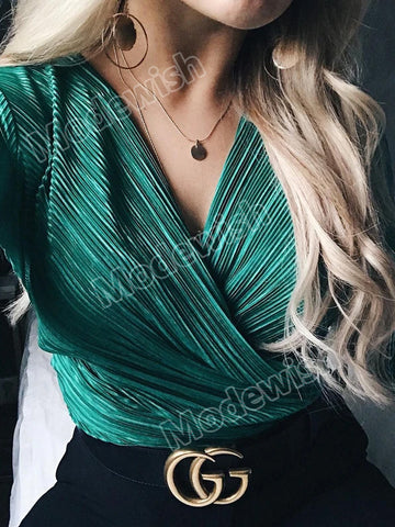 Women Sexy V Neck Long Sleeve Bodysuit Jumpsuit Ladies Party Streetwear Romper Casual