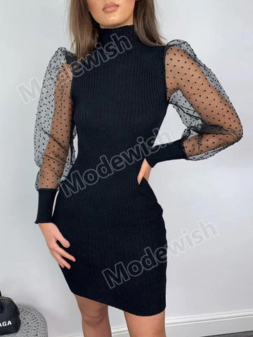 Women Spring Fall Mesh Dot Long Sleeve Knitted Sweater Dress Bodycon Mini Dresses