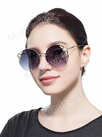 Women's Pearl Sunglasses Metal Round Frame Fashion Gradient Sunglasses