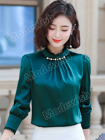 Women's Spring And Autumn Elegant Satin Long Sleeve Lotus Leaf Lace Collar Chiffon Shirt