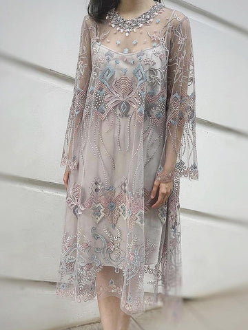 Round Neck Mid-Calf Embroidery Regular Pullover Dress