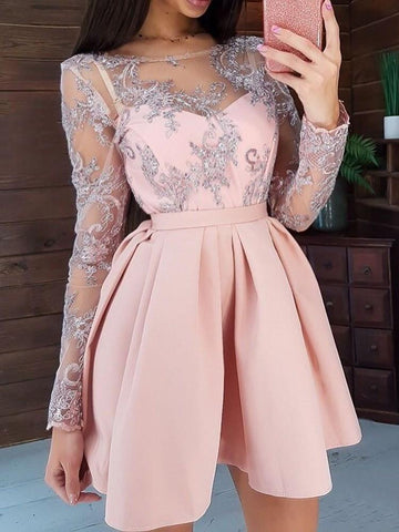 Embroidery Round Neck Long Sleeve A-Line Regular Dress