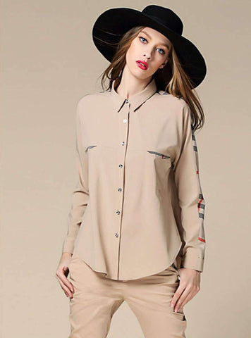 Solid Color Bat Type Blouse