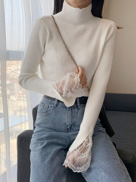 Flare Sleeve Lace Regular Long Sleeve Stand Collar Sweater Knit Tops