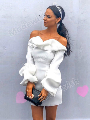 Off Shoulder Long Lantern Sleeve Women's White Ruffled Sexy Bodycon Party Dresses