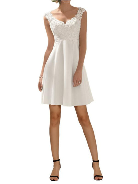 Modewish Women's V-Neck Short Gown Dress