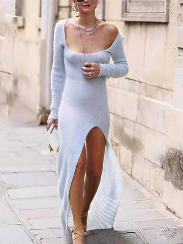 Knit Long Sleeve Slit Legs Sweater Dress
