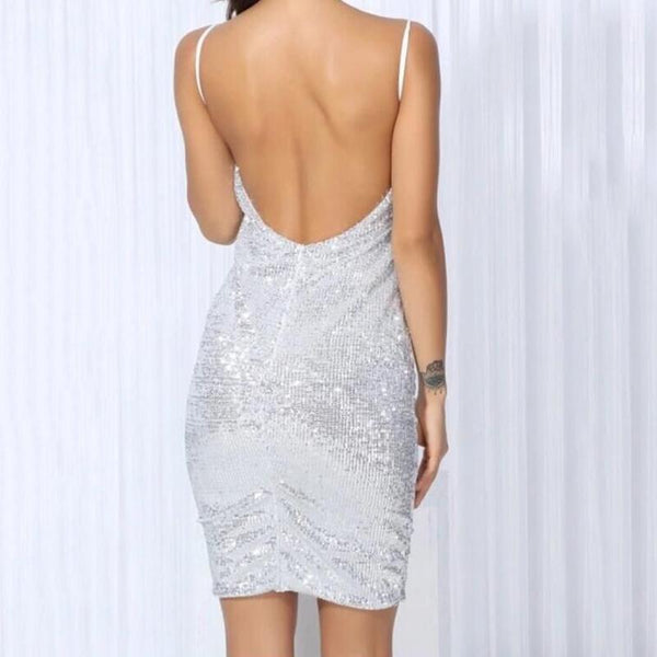 Sexy V Collar Bare Back Sling Dress