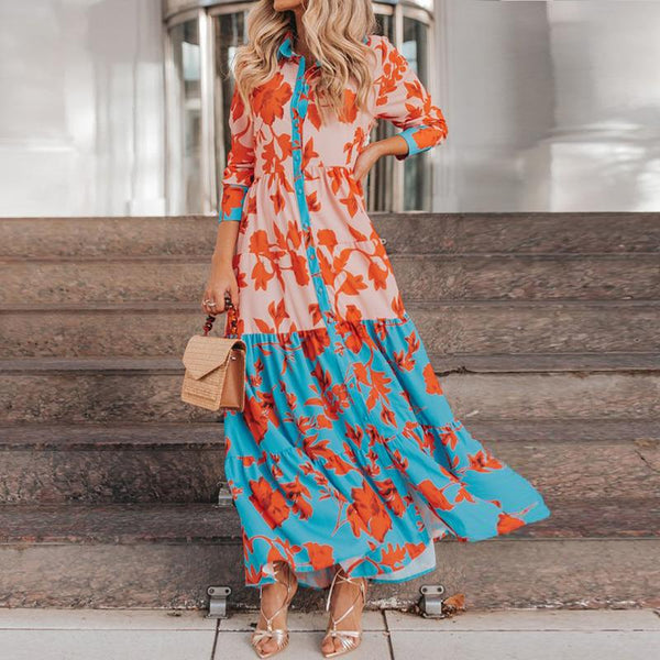 Fashion casual lapel leaves printed patchwork maxi dress