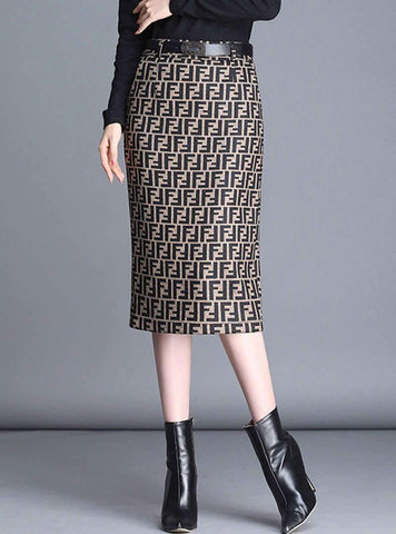 Brown Letter Printed Pockets Bodycon Midi Skirt