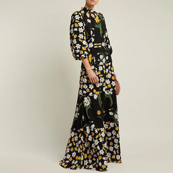 Flash Sale Splicing Printing Lantern Sleeve Maxi Dress