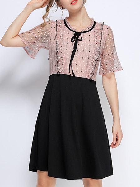 Tie-Neck Summer A-Line Daily Paneled Lace Casual Midi Dress