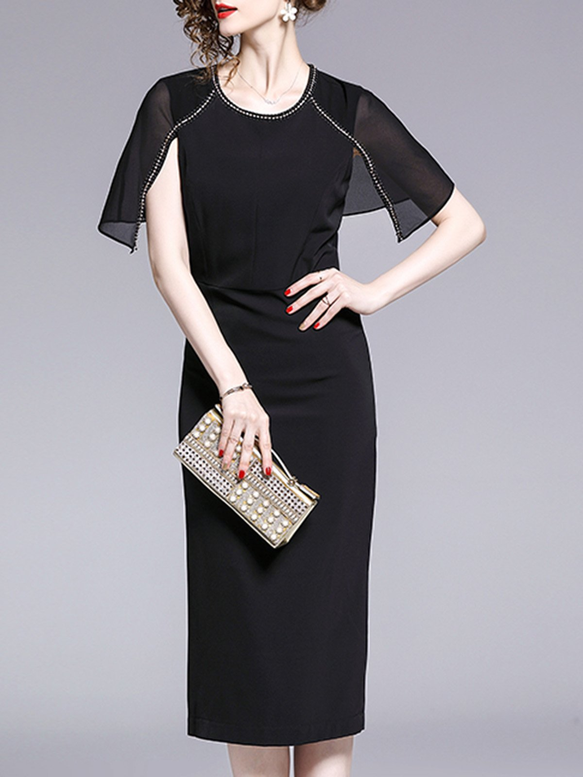 Black A-Line Party Paneled Solid Elegant Midi Dress