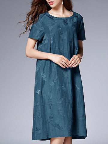 Dark Green Shift Daily Casual Midi Dress