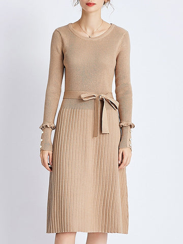 Solid Beaded Knitted Casual Sweater Dress