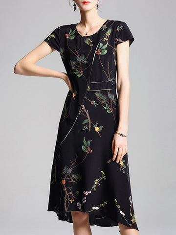 Summer Casual A-Line Going Out Printed Floral Midi Dress
