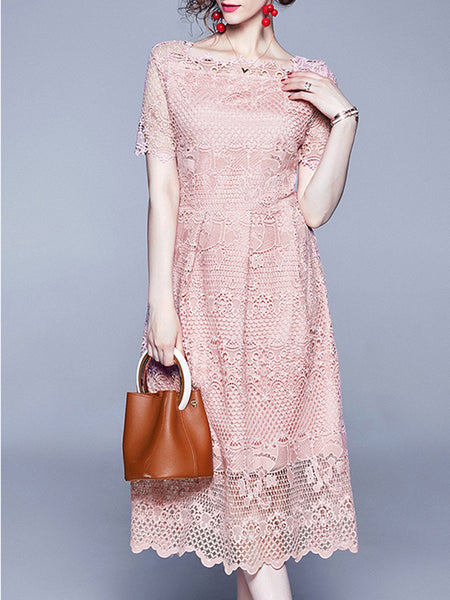 Square Neck Eyelet Date Elegant Midi Dress