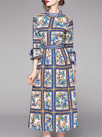 A-Line Date Elegant Multicolor Midi Dress