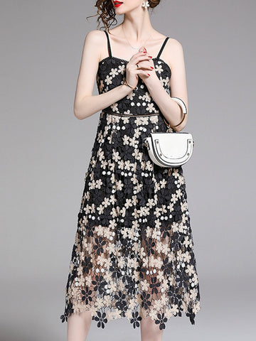 Strapless Elegant Paneled Floral Midi Dress