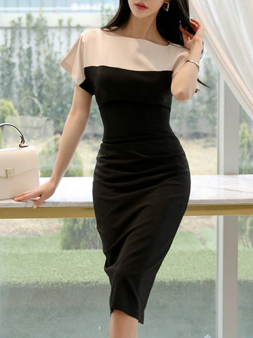 Black Work Dresses Sheath Date Sexy Paneled Midi Dress