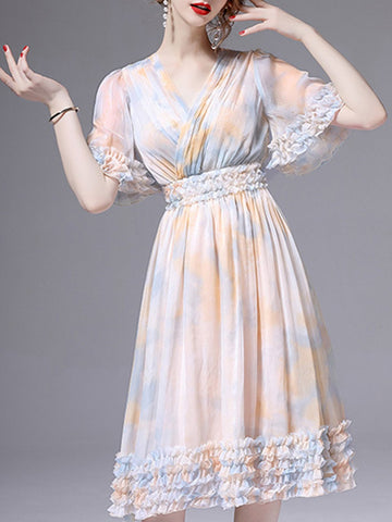 Surplice Neck Daily Elegant Midi Dress