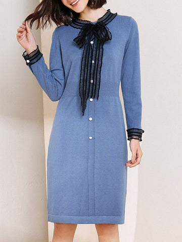 Tie-Neck Casual Buttoned Bow Sweater Midi Dress