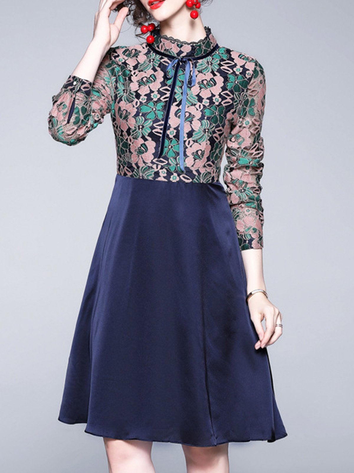 Tie-Neck Floral Going Out Elegant Midi Dress
