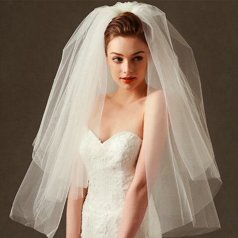 Simple Tulle White Ivory Two Layers Bridal Veil