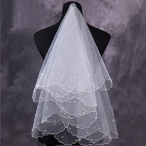 Simple and Elegent Tulle White Ivory Beaded Wedding Bridal Veil