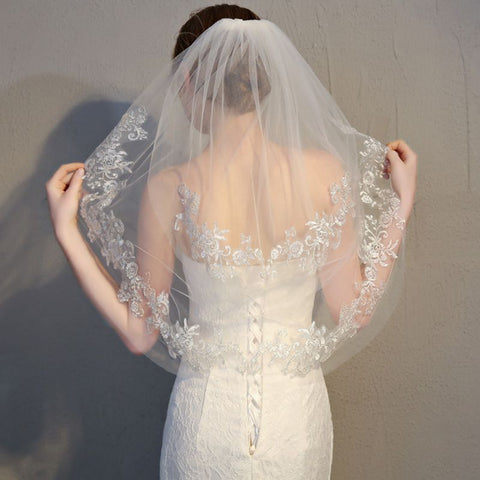 Two layer Women Short Embroidered Lace Wedding Veil