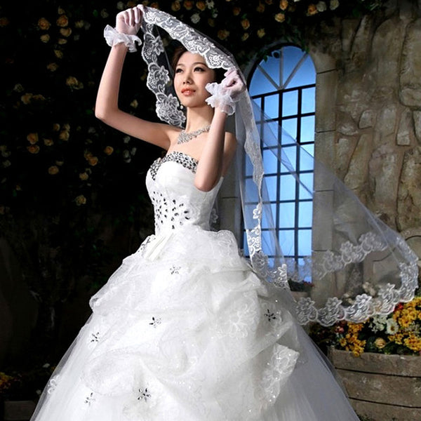 White Ivory Cathedral Length Lace Edge Bride Wedding Bridal Veil Long Trails