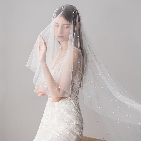 Long Bridal Veils Ivory Pearl Wedding Veils