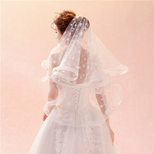 Lovely Volume Edge Stars Appliques Two-layer Elbow Length Wedding Veil