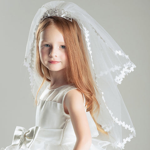 Kids Girls First communion Veils Double layers with comb Wedding Flower Girl veil